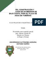 MEDIDOR DE BAJO COSTO PARA EL FLUJO DE AGUA EN TUBERIAS, Juan Francisco Martínez Avalos