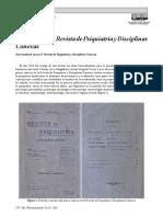 Cien años de la Revista de Psiquiatría y Disciplinas Conexas