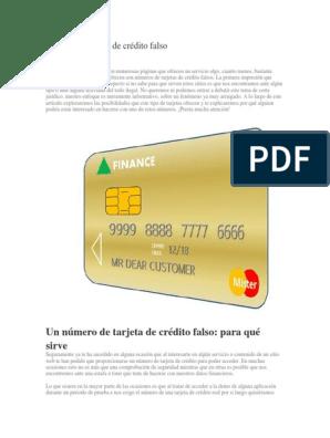 Número De Tarjeta De Crédito Falso Internet Página Web