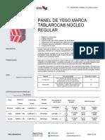Ficha Técnica Panel De Yeso Marca Tablaroca® Núcleo Regular (Español)