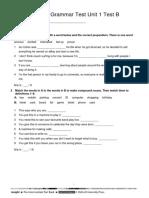 Vocabulary + Grammar Unit 1 Test B