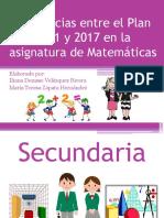 Tabla Comparativa programa 2011 y 2017 Secundaria. Matemáticas