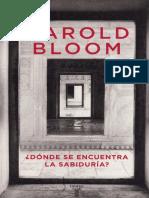 Bloom Harold, Dónde Se Encuentra La Sabiduría