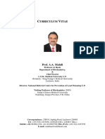 Curriculum Vitae Prof. a. a. Mahdi Professor & HOD (16 PP)