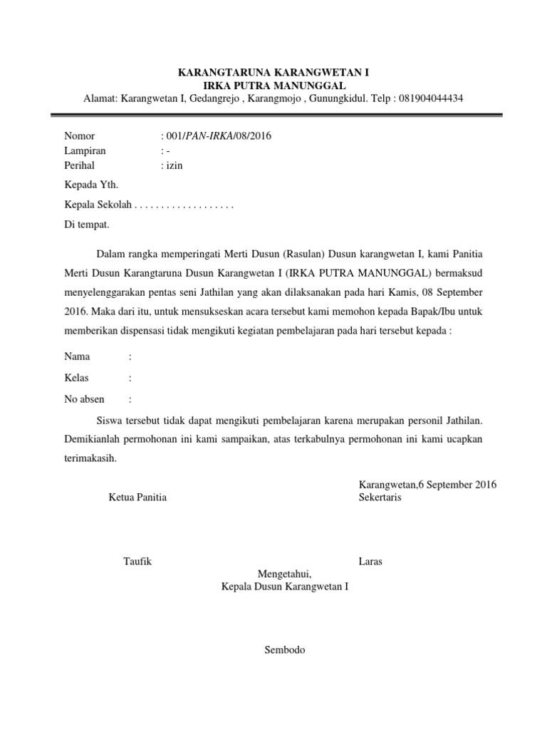 Contoh Surat Izin Dispensasi Detil Gambar Online