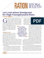 Let's Not Blame Immigrants for High Unemployment Rates, Cato Immigration Reform Bulletin