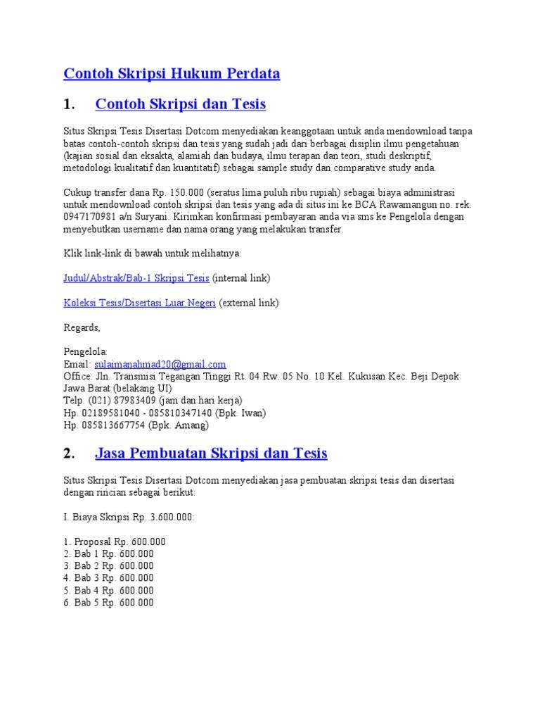 Contoh Skripsi Hukum Perdata