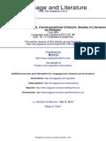 Communicational Criticism Studies in Literature as Dialogue