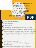 History & Schools of Psychology- Psychoanalysis, Humanism and Cognitive Psychology