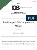 Se solicita policía investigadora en México   Seguridad