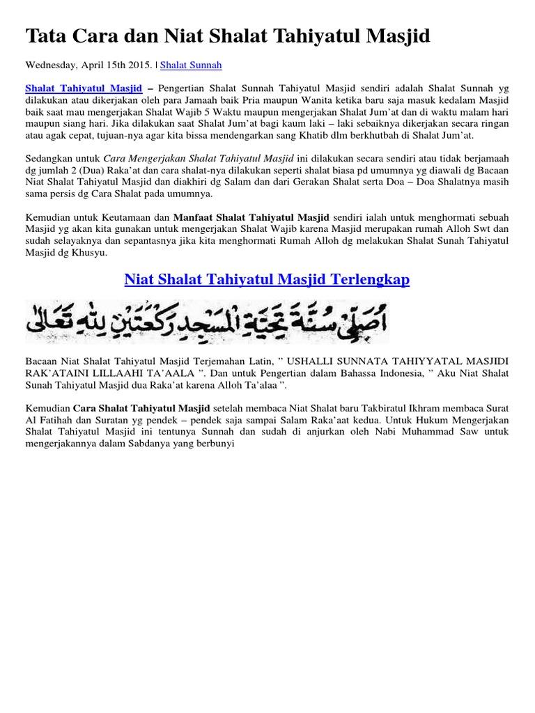 Tata Cara Dan Niat Shalat Tahiyatul Masjid