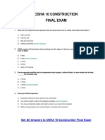 OSHA 10 Construction Final Exam Answer Key