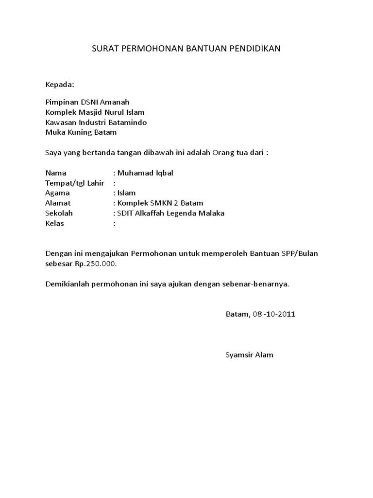 Surat Permohonan Bantuan Pendidikan