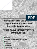 Provisions for Settler Communities in the BOL