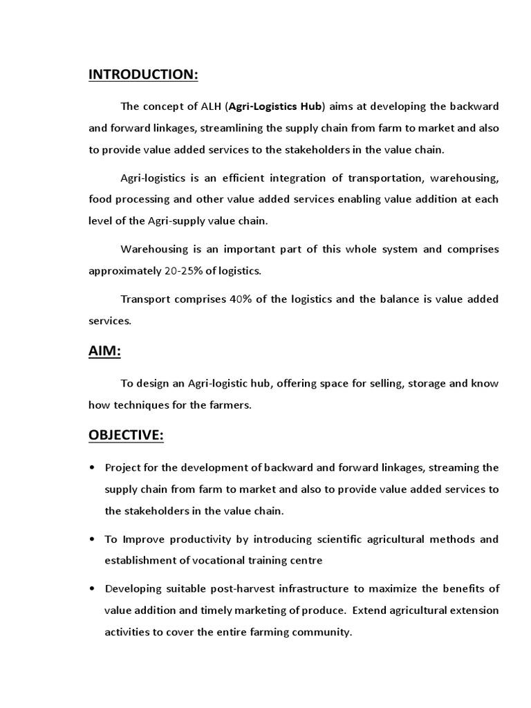Agri-Logistics Hub Synopsis Final Edited | Warehouse | Agriculture