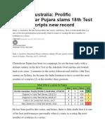 Pujara Creates Record