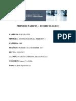 (DRI) Sociologia de La Religion I. Primer Parcial Domiciliario 1C-2017. Garcia, Eduardo