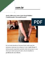 direferença açao penal publica condicionada x açao penal incondicionada