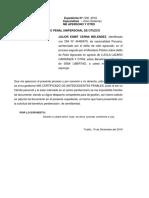 Solicito Certificado de Antecedentes Penales