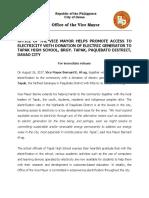Press Release - Brgy Tapak