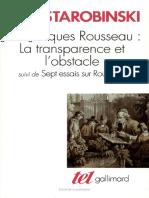 Jean Jacques Rousseau La Transparence Et l Obstacle Sept Essais Sur Rousseau