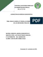 Ensayo Sobre Ley Federal de Remuneraciones de Servidores Publicos Hilario Gomez