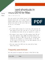Keyboard Shortcuts in Word 2016 for Mac - Word for Mac