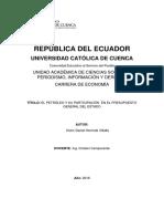 Participación del ingreso petrolero en el PGE