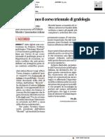 Nasce all'Ateneo di Urbino il corso triennale di Grafologia - Il Corriere Adriatico del 27 dicembre 2018