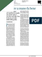 Scrivere a mano fa bene - Il Corriere della Sera del 5 gennaio 2018