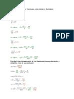 Escribe Las Siguientes Fracciones Como Números Decimales Solución
