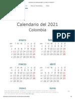 Calendario de Colombia Del 2021 _ ¿Cuándo en El Mundo