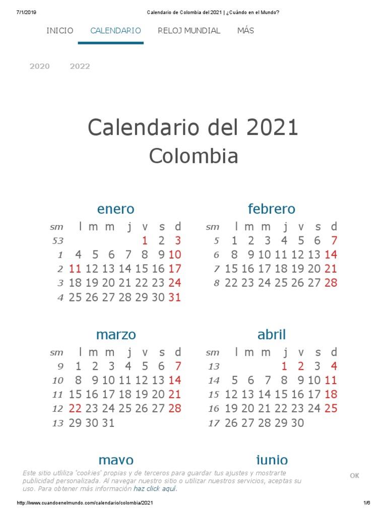 Calendario Colombia 2020 Festivos.By Photo Congress Cuando En El Mundo