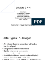 Lecture 3+4 Data Types
