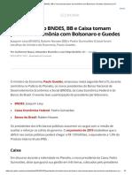 Presidentes Do BNDES, BB e Caixa Tomam Posse Em Cerimônia Com Bolsonaro e Guedes _ Economia _ G1
