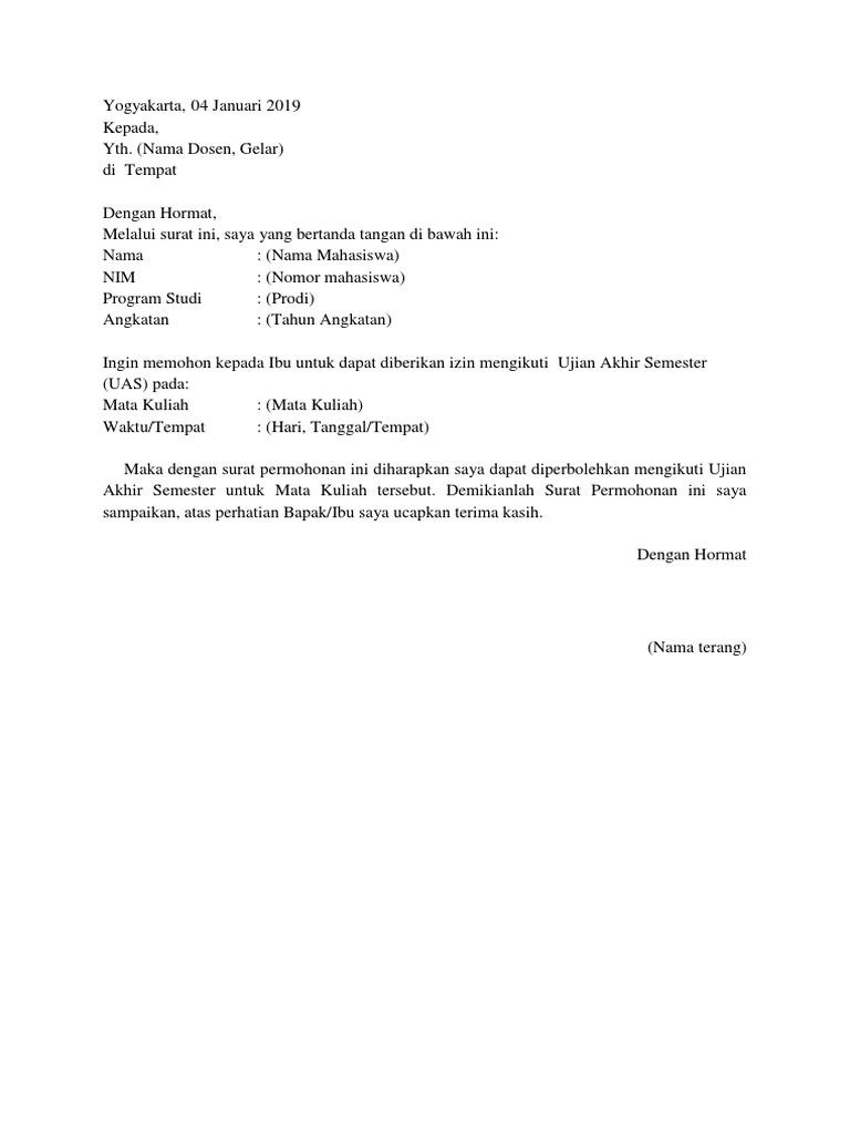 Contoh Surat izin ikut UAS
