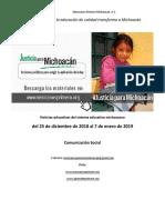 Síntesis Educativa Semanal de Michoacán al 7 de enero de 2019