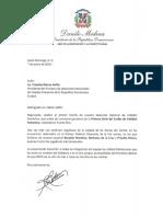 Carta de felicitación del presidente Danilo Medina a Cristóbal Marte Hoffiz por la Selección Nacional de Voleibol Femenino ganar la Primera Serie del Caribe