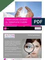 Observatoire sociétal du téléphone mobile - 6ème édition - TNS/AFOM