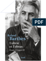 Barthes L'Obvie Et l'Obtus