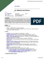 Magic, Medicine and Science Syllabus