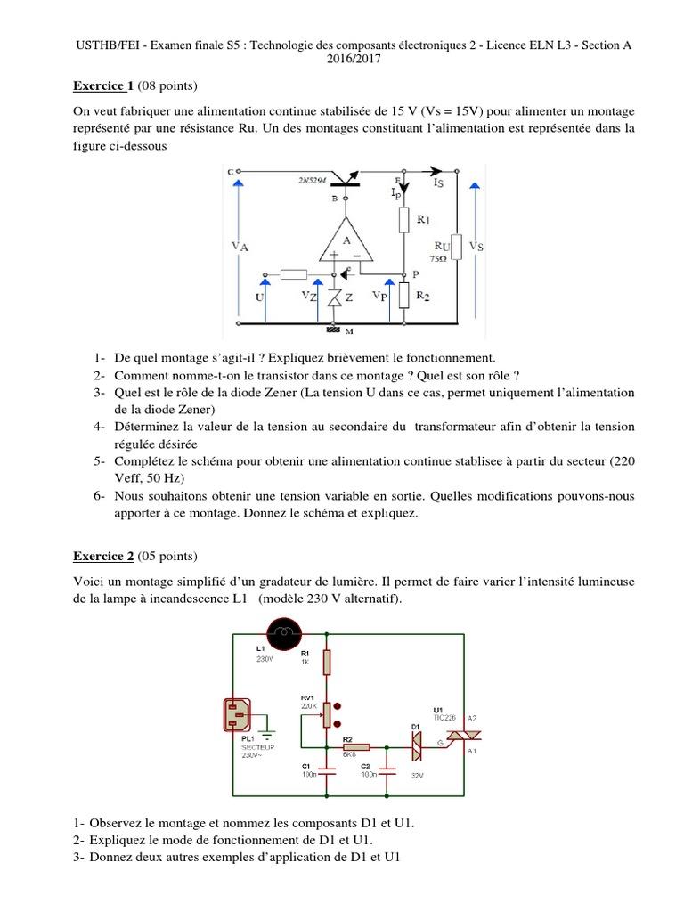 Examen Technologie Des Composants 2 2016 2017 Diode Composants Electriques