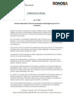 04-01-2019 Solicita Gobernadora Pavlovich Declaratoria de Emergencia Para Los 72 Municipios