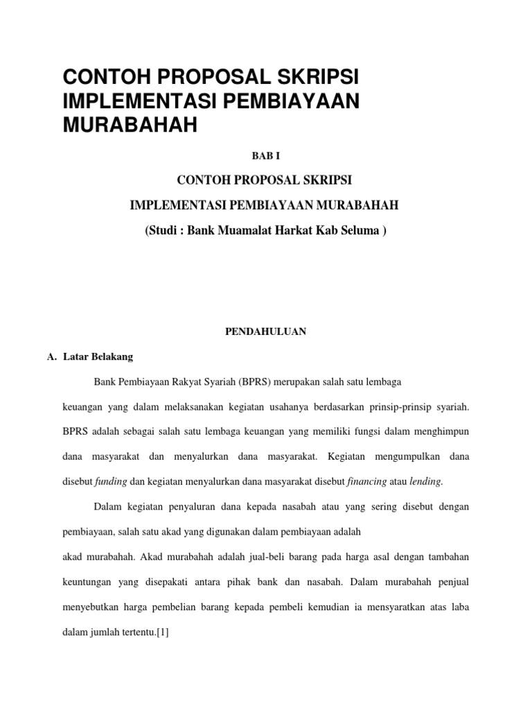 Contoh Proposal Skripsi Implementasi Pembiayaan Murabahah