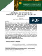 A Discplina de História e Sua Contribuição Para a Construção Da Cidadania (1)