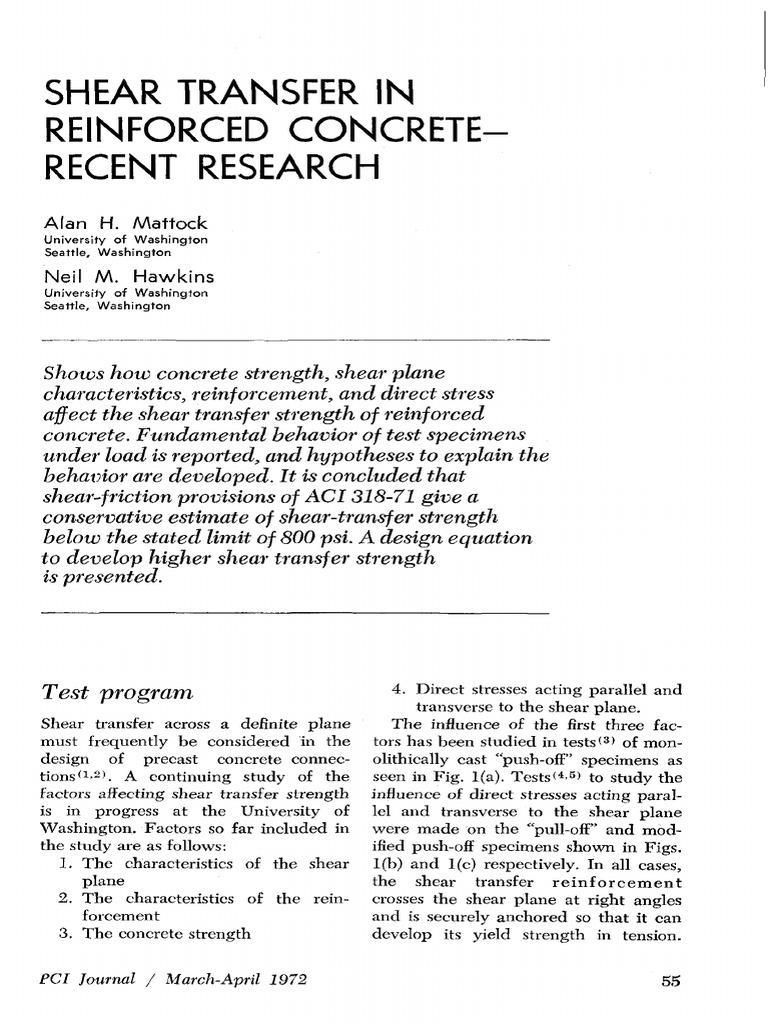 Shear Transfer In Reinforced Concrete-Recent Research: Alan