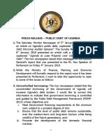 Press Release – Public Debt of Uganda