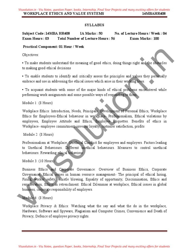 Mba IV Workplace Ethics 14mbahr408 Notes