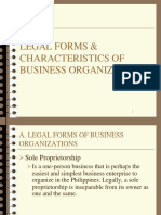 Legal Forms & Characteristics of Business Organization