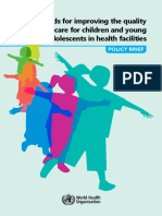 Standards for Improving the Quality of Care for Children and Young Adolescents in Health Facilities - Policy Brief